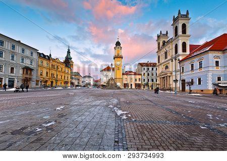 Banska Bystrica, Slovakia - January 16, 2016: Main Square In Banska Bystrica, Central Slovakia.