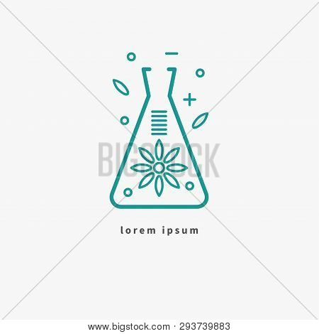 Flask With Flower, Icon Of Organic Cosmetics, Logo Of Natural Product, Science And Nature. Vector Il