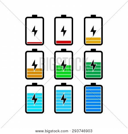 Set Of Battery Icon Vector On White Background, Battery Icons Set, Battery Color Vector, Illustratio