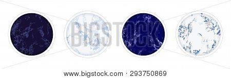 Highlight Covers Backgrounds. Set Of Marble Design Templates. Blue, White And Ultramarine Colors. Us