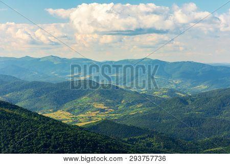 Mountains, Valleys And Ridges Of Carpathians.  Beautiful View Of Beskid Massif In Summertime. Peaks