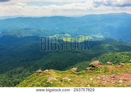 Mountains, Valleys Of Carpathians. Beautiful Landscape With Polonina Runa Mountain In The Distance.