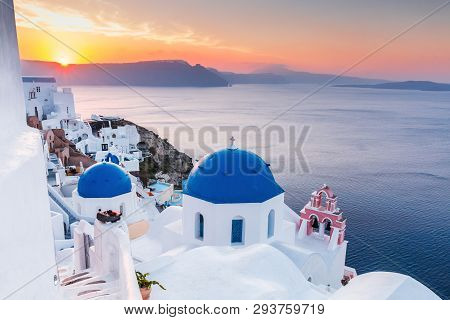 Santorini, Greece. Oia Village At Sunrise, Santorini Island.
