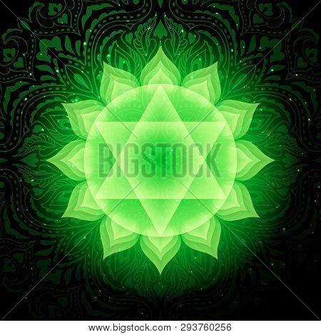 Anahata Chakra Colorful Glowing Symbol With Mandala Background. Spiritual Meditation Element Vector