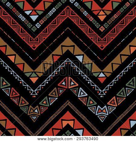 Seamless Bronze Metallic Ethnic Zigzag Chevron Pattern.