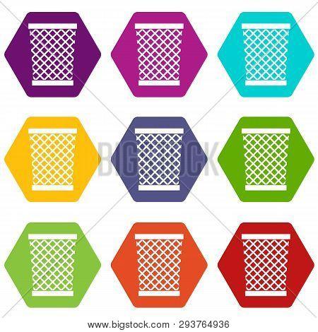 Wastepaper Basket Icon Set Many Color Hexahedron Isolated On White Illustration