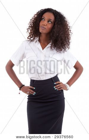 Young African American Business Woman Looking Up