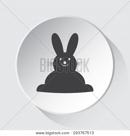 Happy Smiling Rabbit, Front View - Simple Gray Icon On White Button With Shadow In Front Of Light Gr