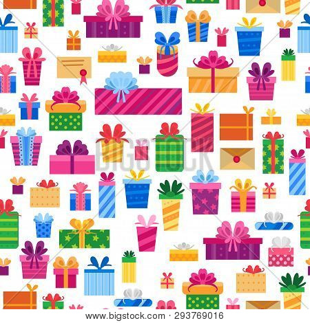 Seamless Pattern With Colorful Flat Present Box.