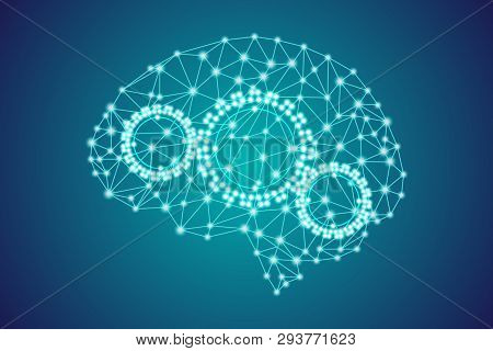 3d Digital Polygonal Plexus Blue Human Brain With Gears, Artificial Intelligence Thought Process Con