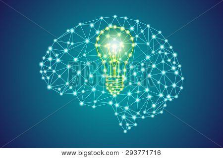 Yellow Lightbulb Sign In Polygonal Low Poly Plexus Blue Human Head Brain, Smart Business Creative Id