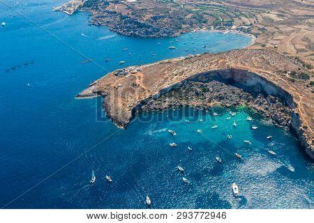 Mistra Bay, Xemxija, Western Part Of St. Paul's Bay, Northern Region, Malta. Aerial View