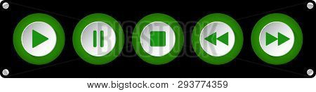 Green, White Round Music Control Buttons Set - Five Icons In Front Of A Black Background With Rounde