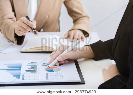 business valuation financier audit working with accountant and data annual report poster