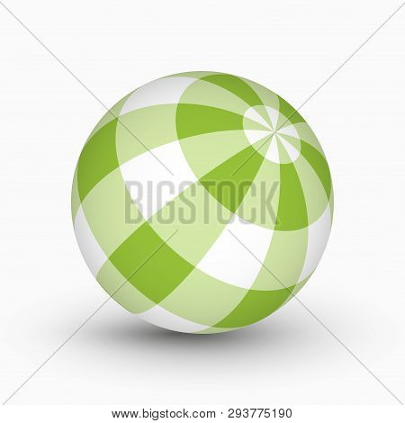 Green And White Tartan, Plaid Ball With Shadow In Front Of A White Background