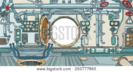 Compartment Or Command Deck Of A Spaceship. Pop Art Retro Vector Illustration Vintage Kitsch