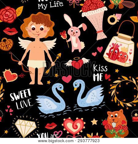 Seamless Pattern With Love Elements. Vector Illustration