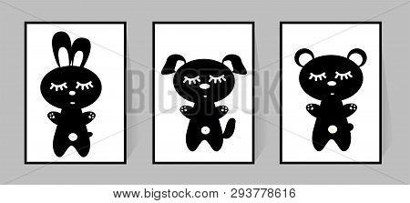 Set Of Monochrome Posters. Vector For Children Room Decor. Black And White Animals. Rabbit, Bear, Do