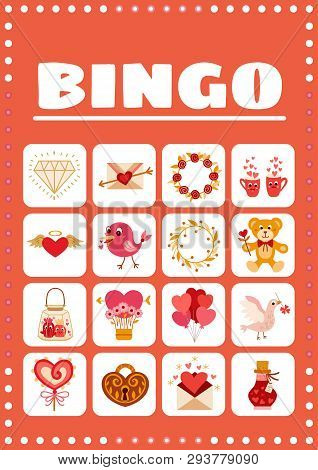Bingo Card For Game With Love Elements In Cartoon Style.