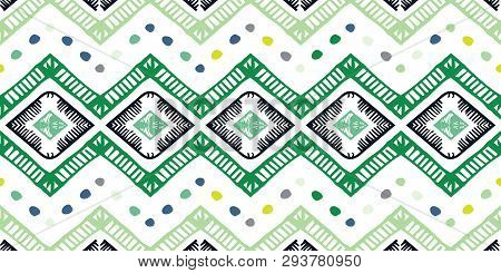 Tribal Ethnic Ikat Folklore Pattern. African Abstract Ornament.