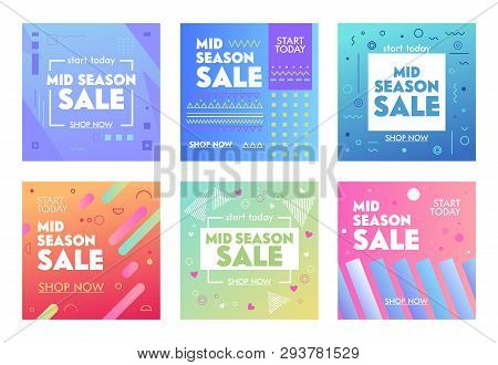 Set Of Colorful Banners With Abstract Geometric Pattern For Mid Season Sale. Promo Post Design Templ