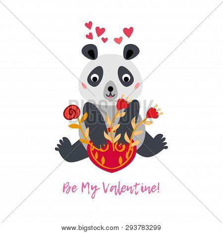 Valentines Day Greeting Card With Panda Bear And Red Flowers