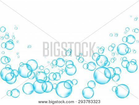 Effervescent Drink. Underwater Blue Fizzing Air Bubbles On White  Background. Fizzy Sparkles In Wate