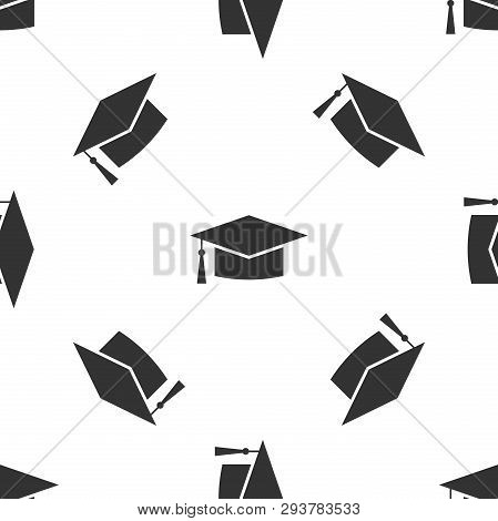 Grey Graduation Cap Icon Isolated Seamless Pattern On White Background. Graduation Hat With Tassel I