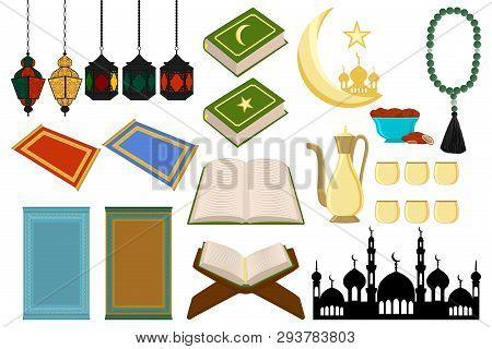Illustration On Theme Big Colored Set Different Types Object To Celebration Holiday Ramadan Kareem.