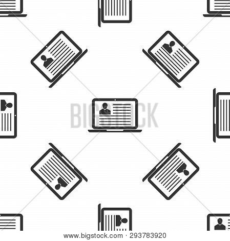 Grey Laptop With Resume Icon Isolated Seamless Pattern On White Background. Cv Application. Searchin