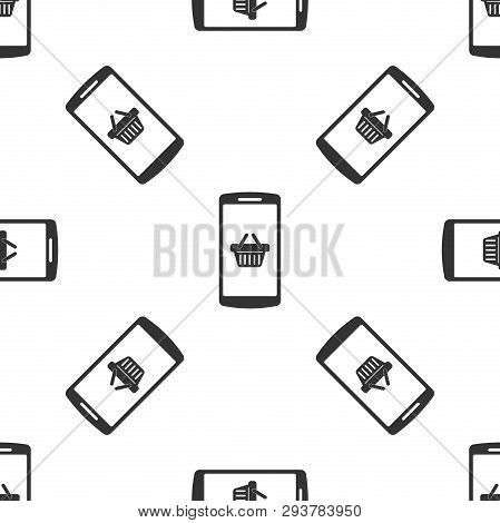 Grey Shopping Basket On Screen Smartphone Icon Isolated Seamless Pattern On White Background. Concep