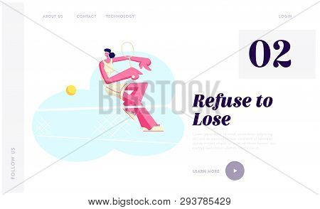 Female Tennis Player in Uniform Sports Wear Trying to Repulse Ball with Racket. Sportswoman at Competition, Sport Training Website Landing Page, Web Page. Cartoon Flat Vector Illustration, Banner poster