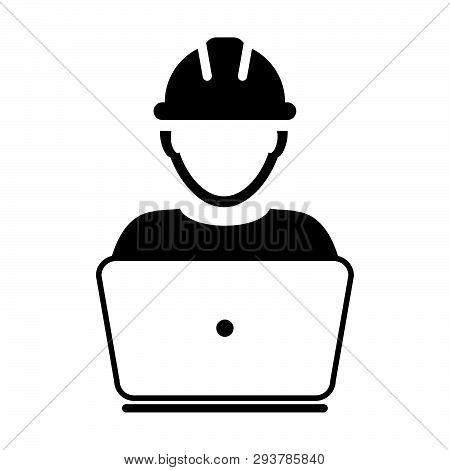 Contractor Icon Vector Male Construction Service Worker Person Profile Avatar With Laptop And Hardha
