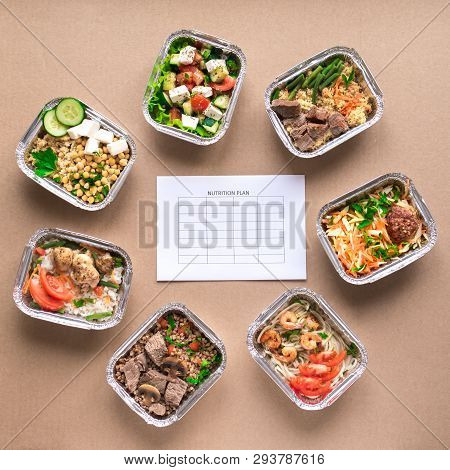Nutrition Meal Plan Mockup With Healthy Food Delivery. Fitness Nutrition For Diet. Daily Meals In Fo