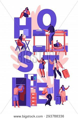 Students or Travelers Characters Hostel Accommodation Concept. Tourists People Characters Move into Cheap Motel to Stay at Night, Poster, Banner, Flyer, Brochure. Cartoon Flat Vector Illustration poster