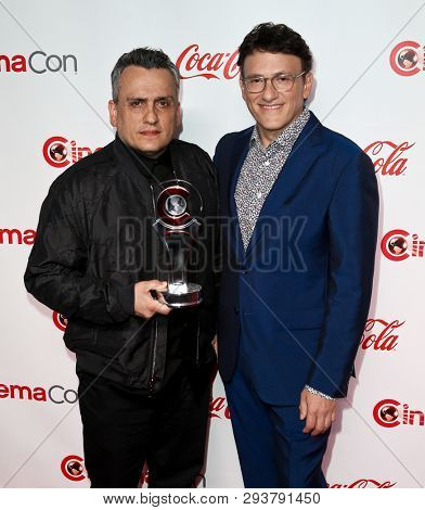 LAS VEGAS-APR 4: Directors Joe Russo (L) and Anthony Russo attend The CinemaCon Big Screen Achievement Awards at OMNIA Nightclub at Caesars Palace at CinemaCon on April 4, 2019 in Las Vegas, Nevada.
