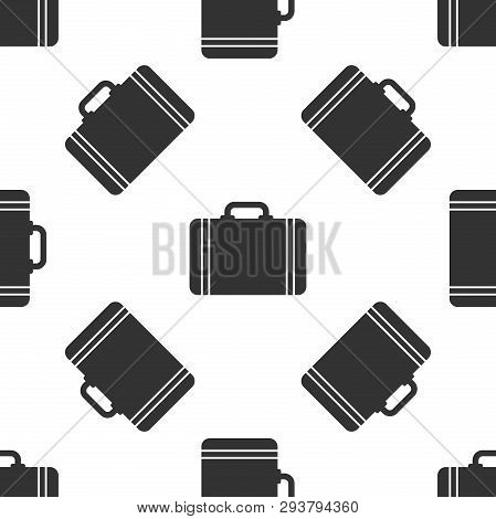 Grey Suitcase For Travel Icon Isolated Seamless Pattern On White Background. Traveling Baggage Sign.
