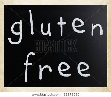 Gluten Free Diet Concept - Handwritten With White Chalk On A Blackboard