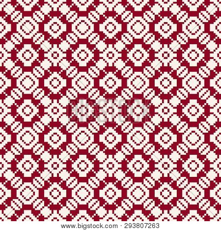Geometric Traditional Folk Ornament. Fair Isle Seamless Pattern. Winter Holiday Theme Texture. Backg