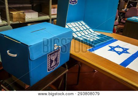 Rosh Haayin, Israel. February 24, 2015. Ballots With Names Of Political Parties And Ballot Boxes In