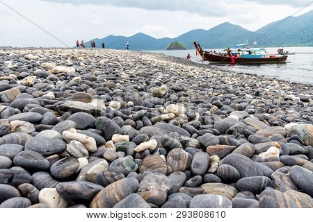 Travel Andaman Sea To Ko Hin Ngam Island And The Arrival Of Tourists By Long Tail Boat And Beautiful