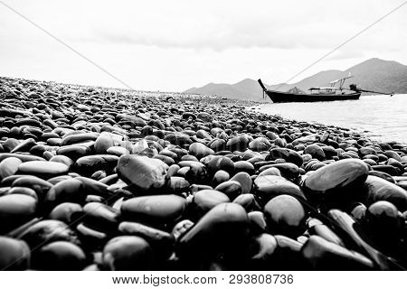 Black And White Color Style, Unusual Beautiful Nature Landscape Of Rock And Long Tail Boat Trip In T