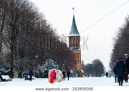 Cathedral In Kaliningrad, Grave Of Immanuel Kant In Kaliningrad, Kaliningrad, Russia, January 8, 201