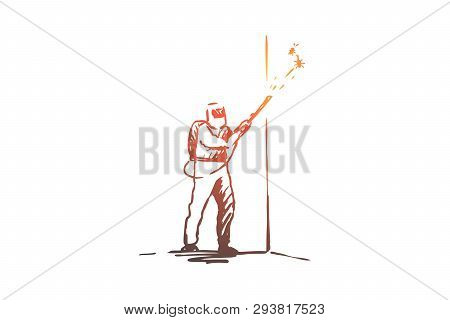 Pest, Control, Service, Insect, Toxic Concept. Hand Drawn Person In Uniform From Pest Control Servic