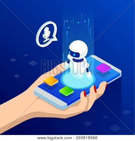 Isometric Chat Bot Vector & Photo (Free Trial)   Bigstock