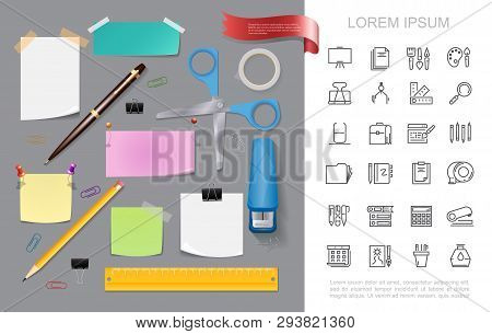 Realistic Stationery Colorful Concept With Stapler Scissors Pen Pencil Paper Note Stickers Pushpins