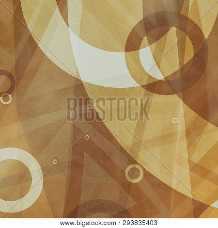 Rings And Triangles Of Brown And White In Abstract Background Pattern, Random Sizes Of Transparent W