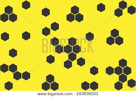 Abstract Geometric Background With Hexagons On Yellow Background. Seamless Texture With Honeycomb