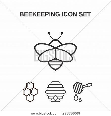 Set Of Icons Of Beekeeping. Set Of 4 Isolated Icons On White Background