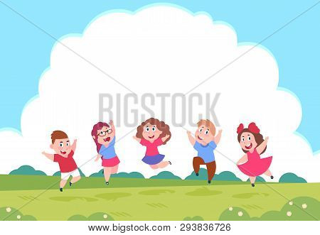 Happy Cartoon Children. Preschool Playing Kids On Summer Nature Background With Clouds. Art Illustra